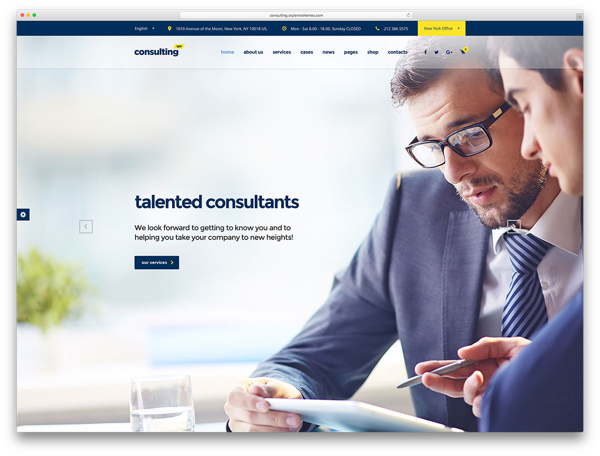 20 best business consulting wordpress themes 2018 colorlib for In home design consultant