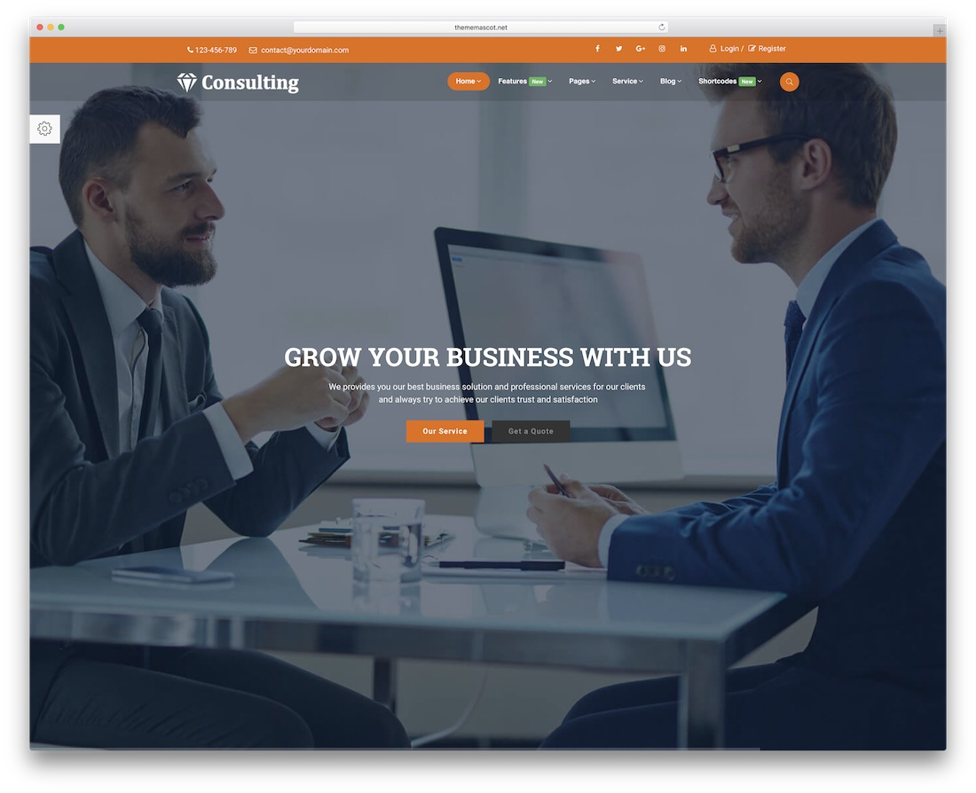 consulting pro bootstrap business website template