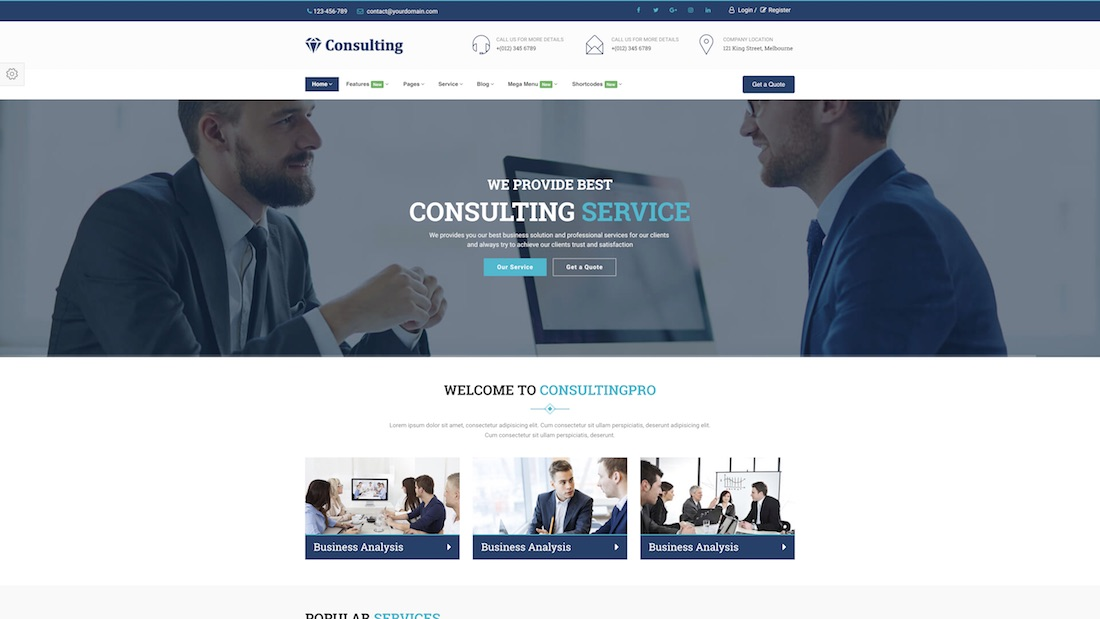 consulting pro consulting website template