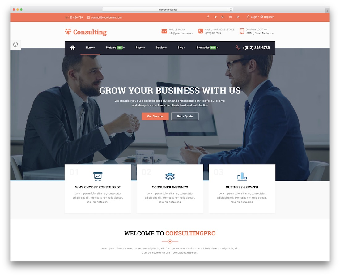 consulting pro financial website template