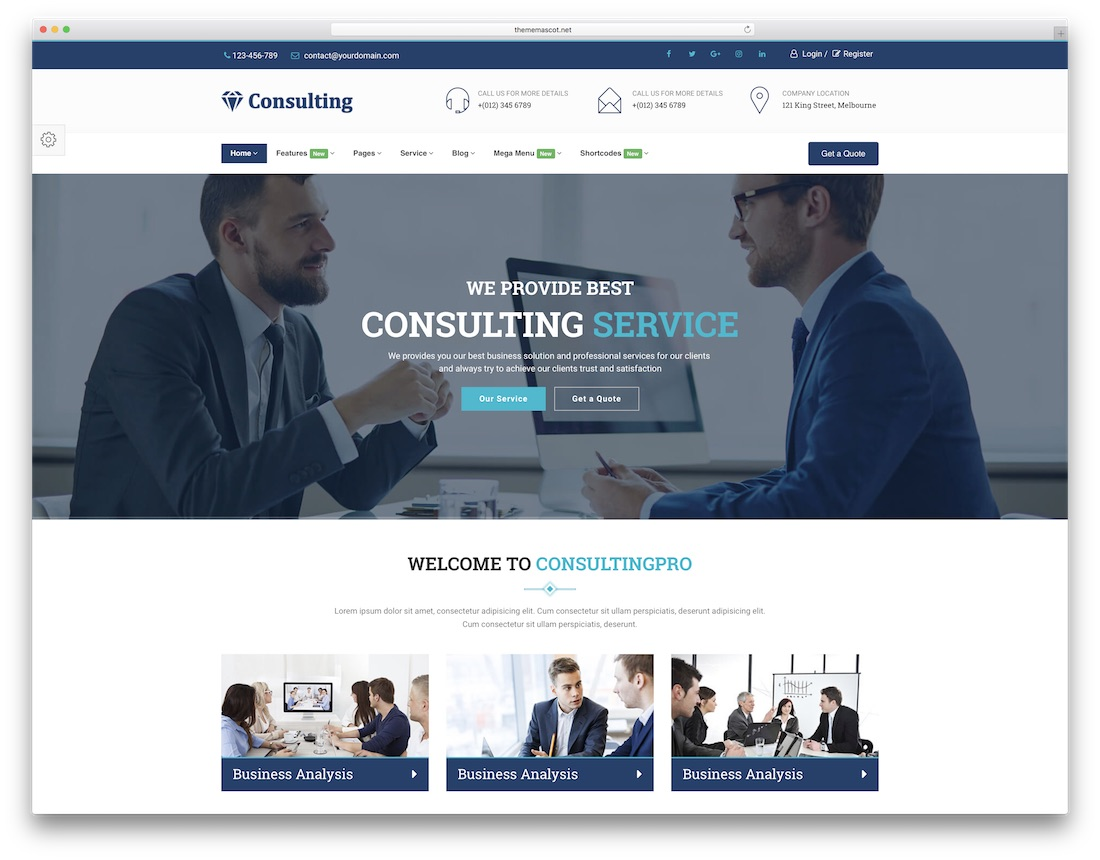 consulting professional website template