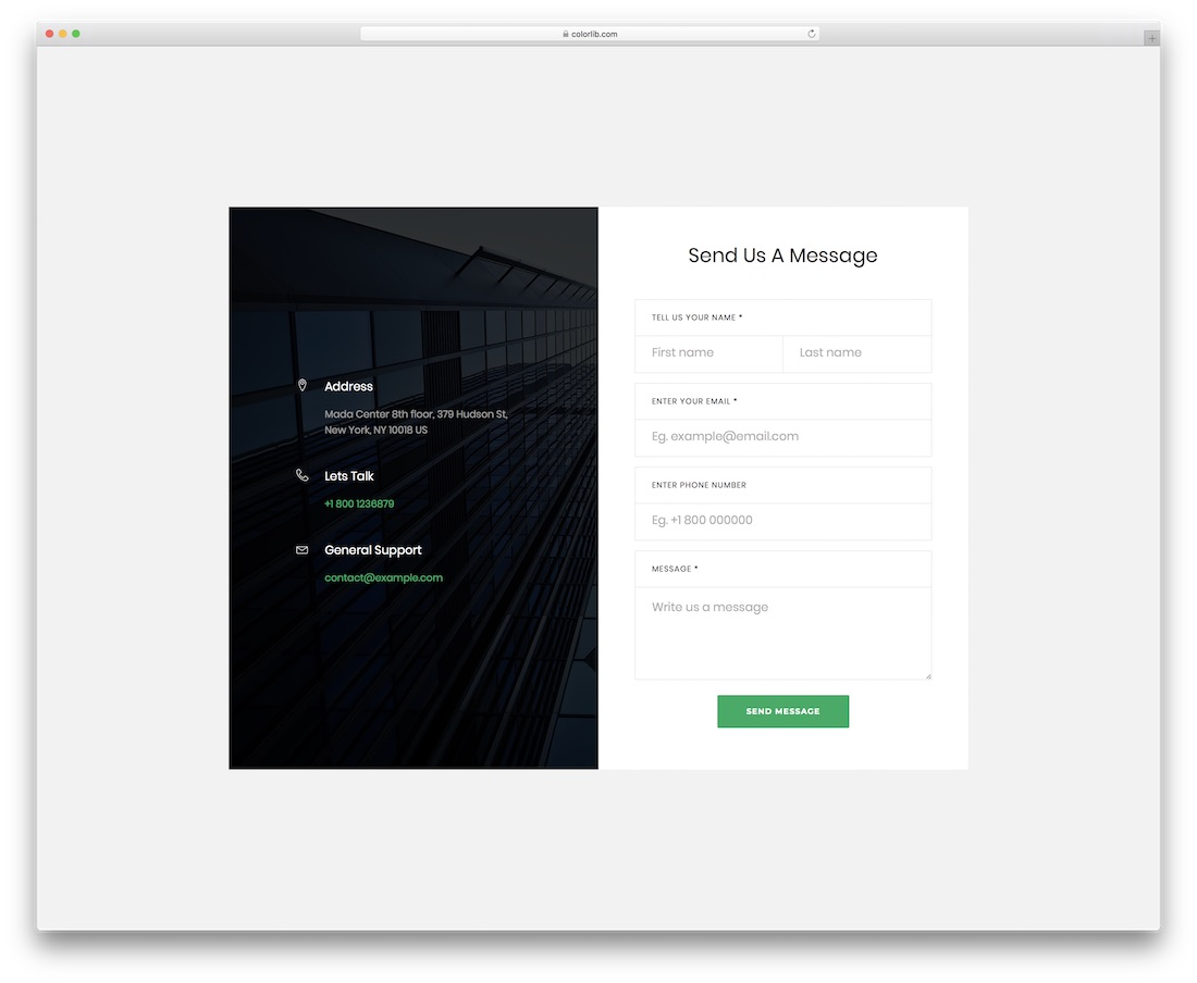 contact form 17 template