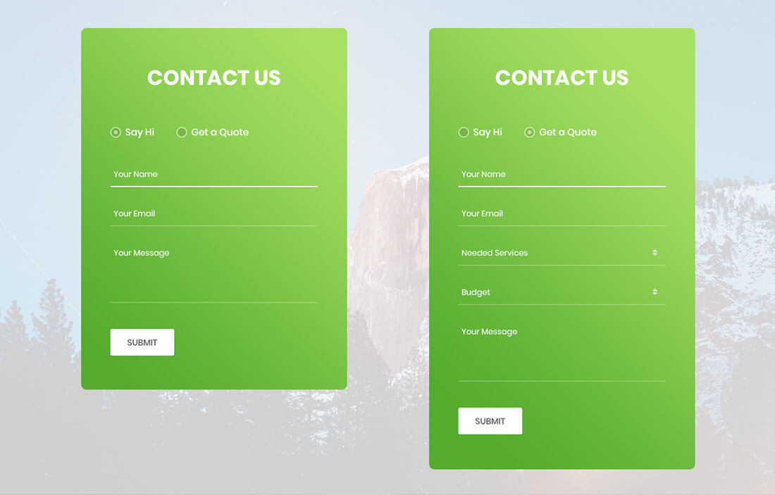 update contact information form template.html