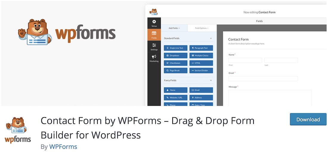 contact form plugin by wpforms