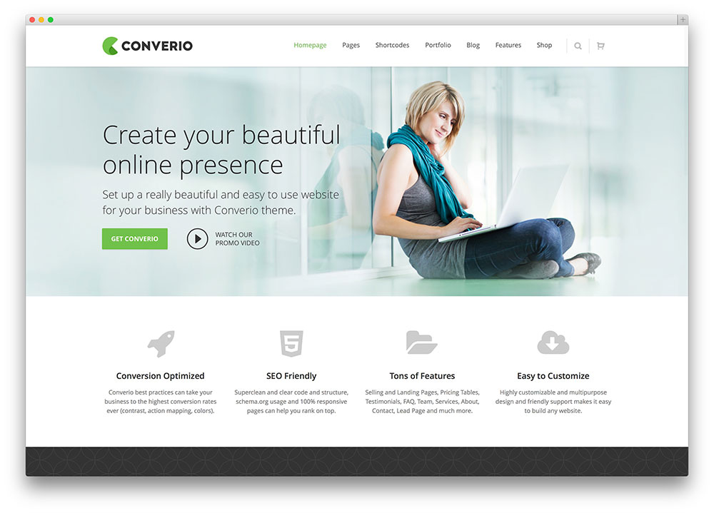 converio intuitive corporate theme