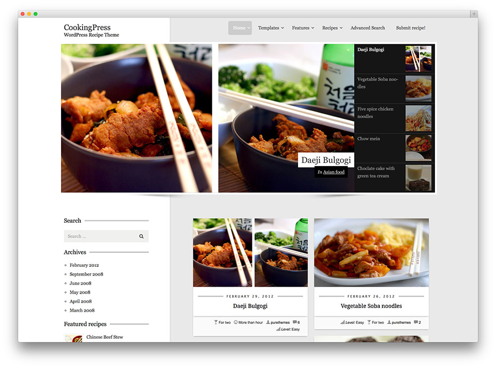 Recipe WordPress Themes 20+ Awesome Food WordPress Themes to Share Recipes 2016 - colorlib