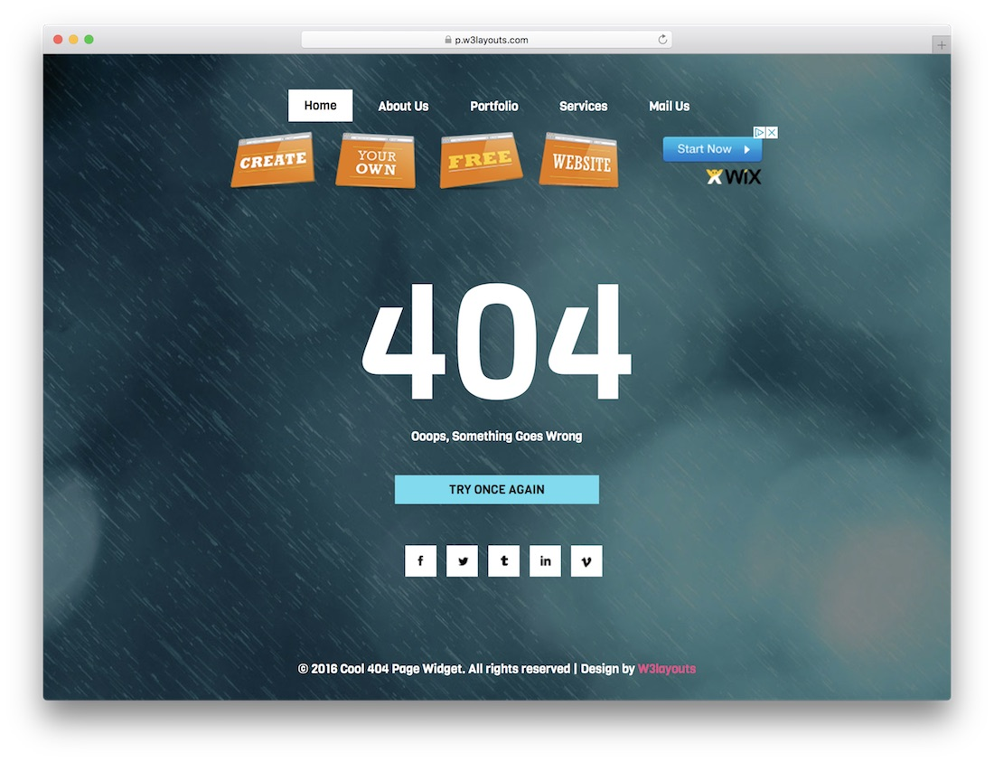 cool free 404 error page template