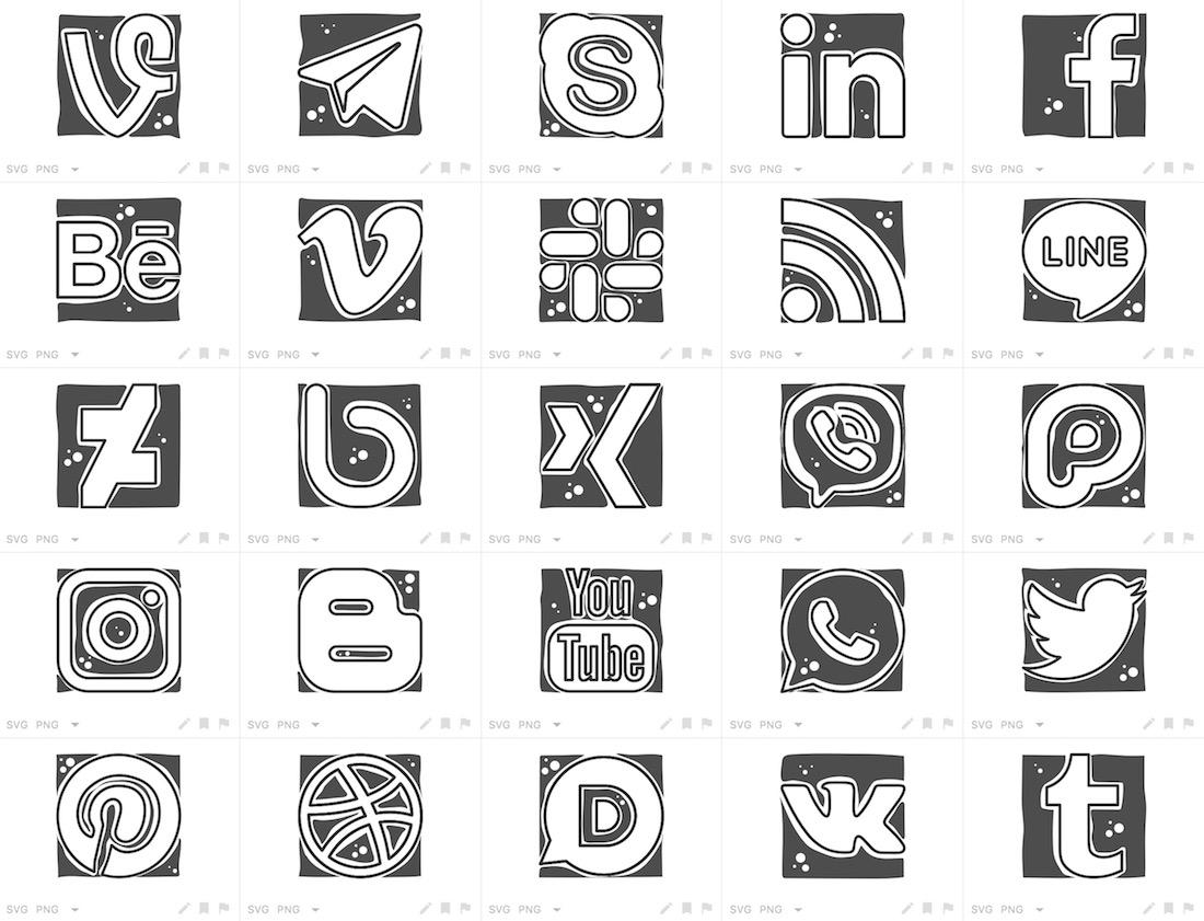 cool social networks logos