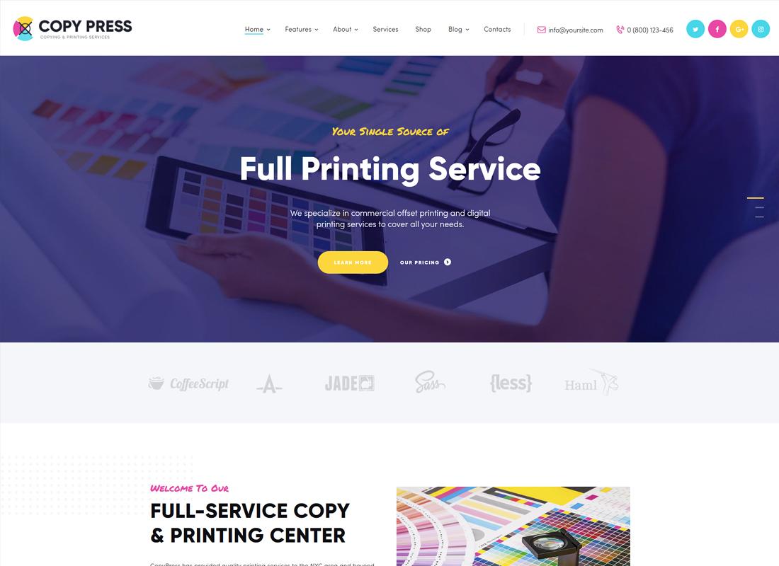 CopyPress | Type Design & Printing Services WordPress Theme