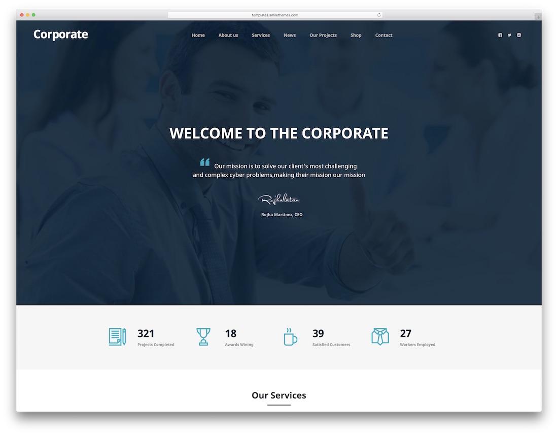 corporate marketing website template