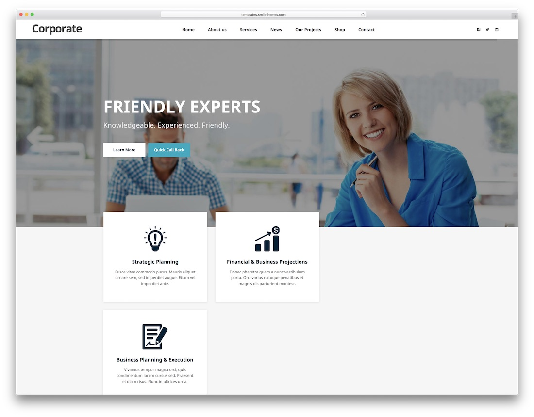 corporate seo friendly website template