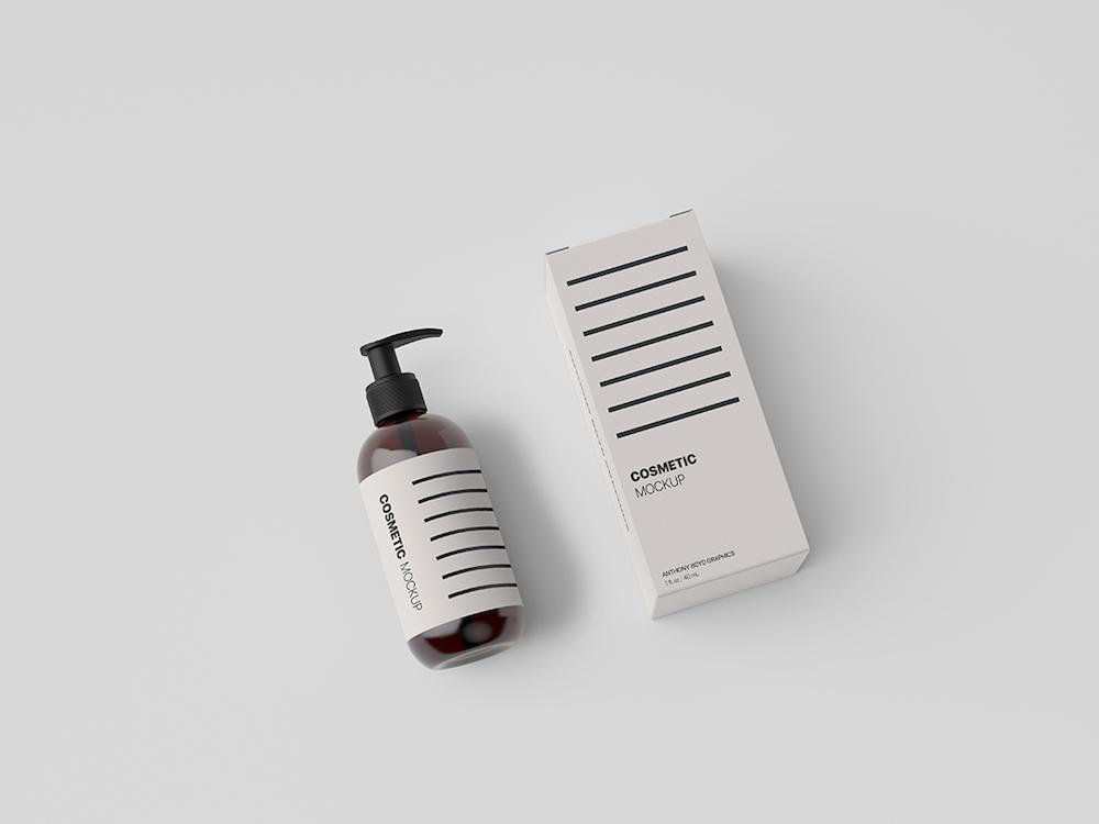 cosmetic bottle packaging showcase mockup