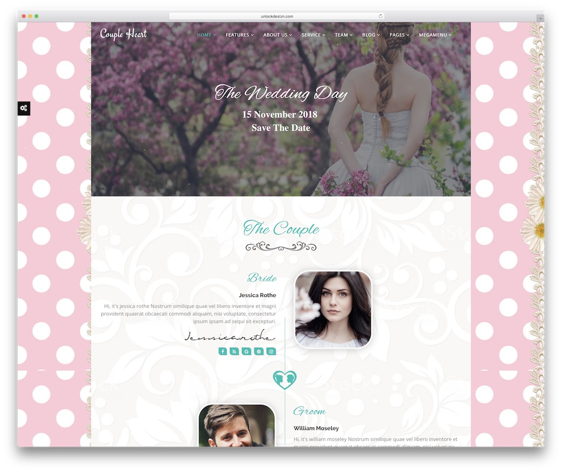 couple heart event website template
