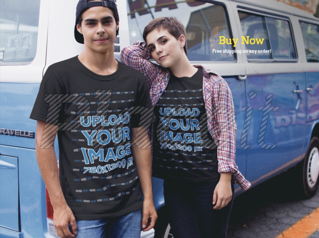 couple wearing round neck black t-shirts mockup