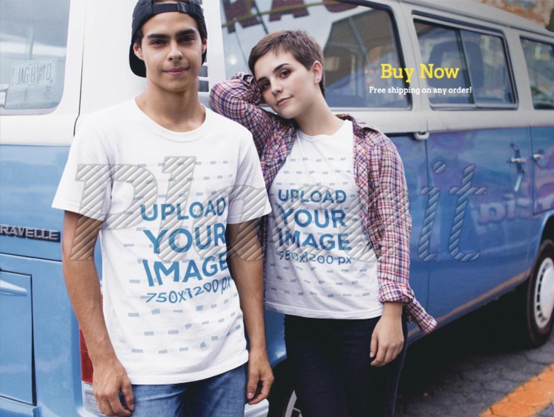 couple wearing round neck t-shirts mockup