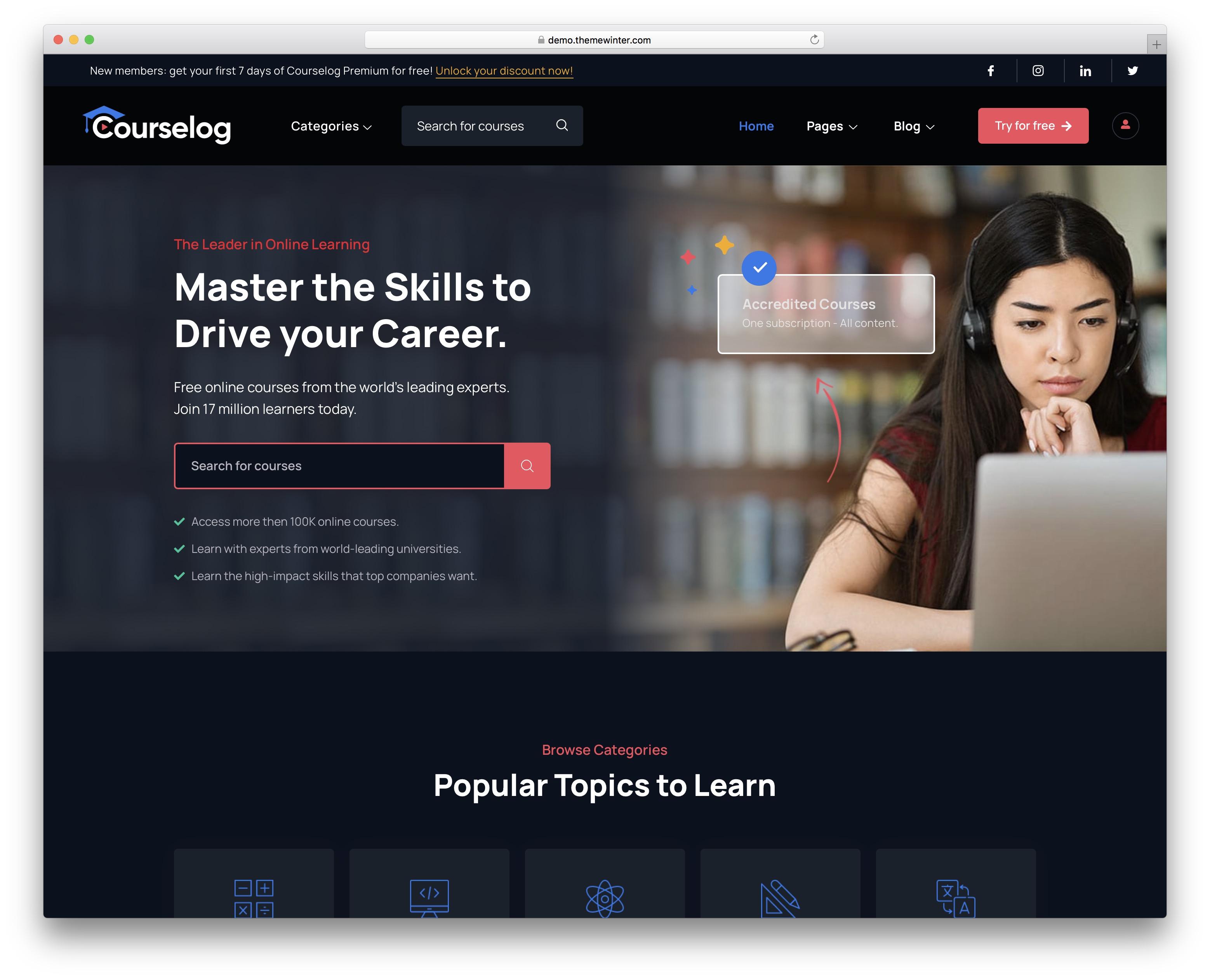 courselog wordpress theme