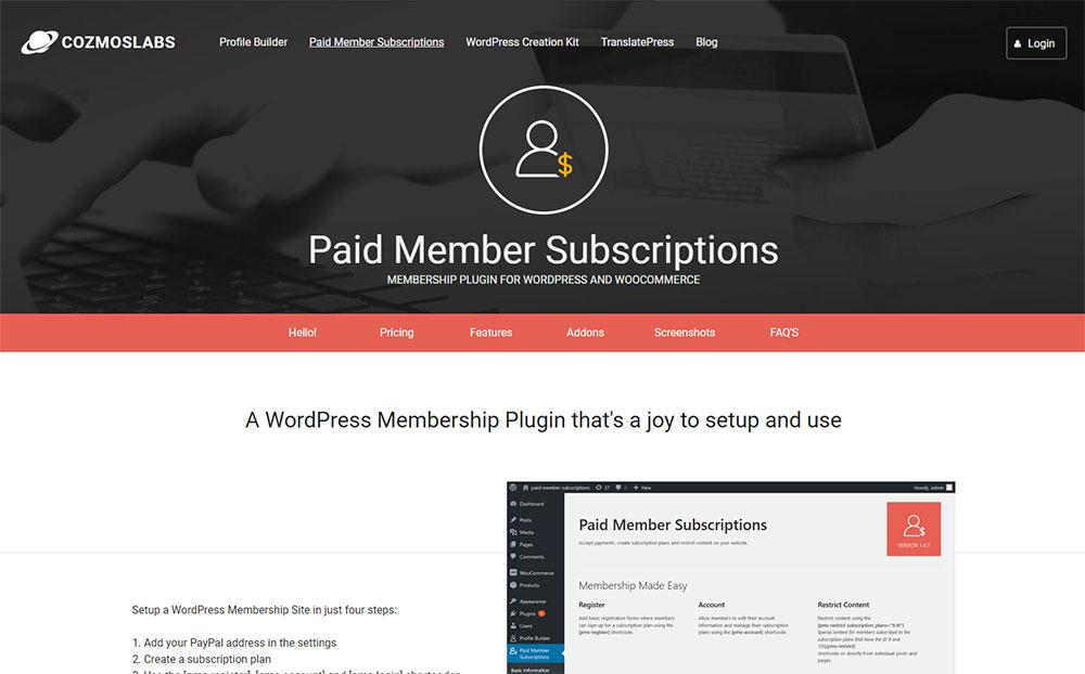 Cozmoslabs - Membership Plugin