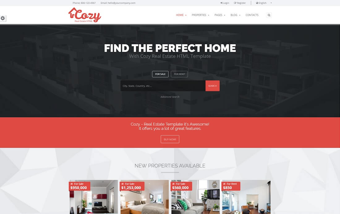 cozy bootstrap business website template