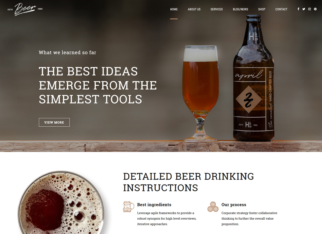 Craft Beer - Brewery or Pub WordPress Theme