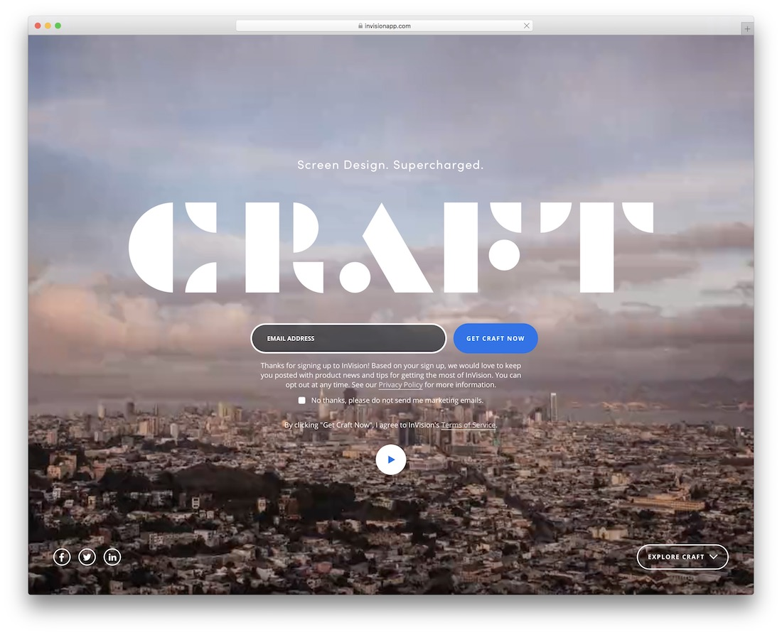 craft by invision labs web design tool