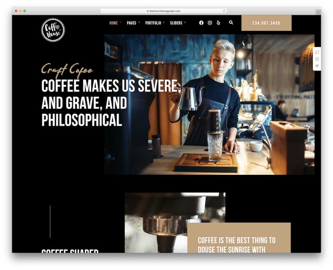 craft coffee shop wordpress theme