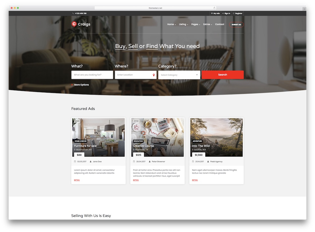 craigs directory website template