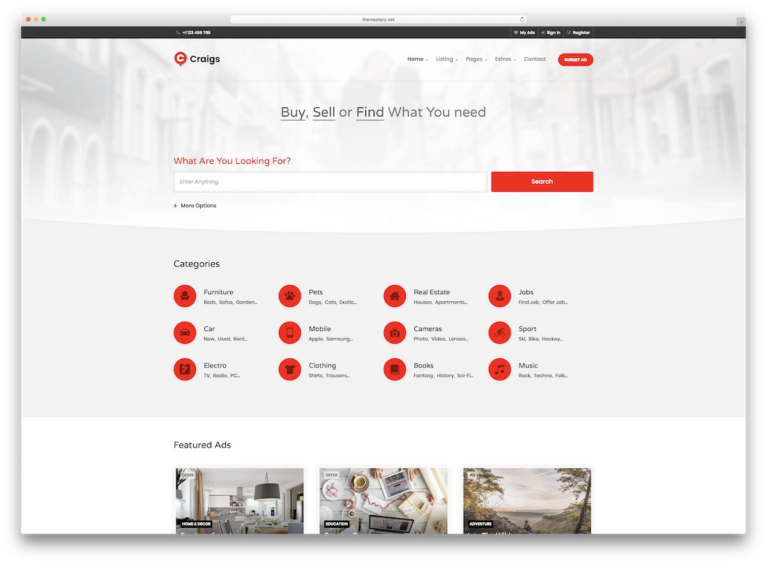 craigs real estate website template