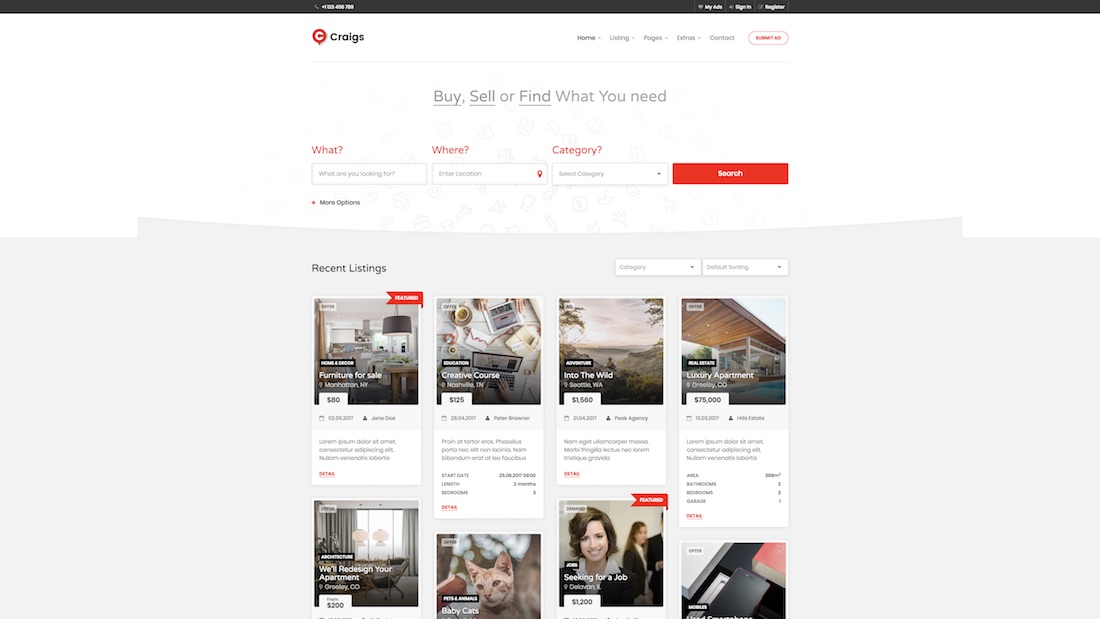 craigs website template