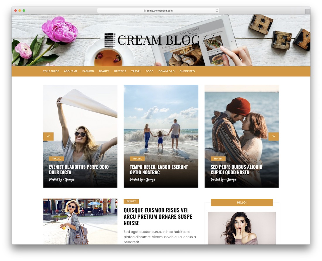 cream blog lite free wordpress themes