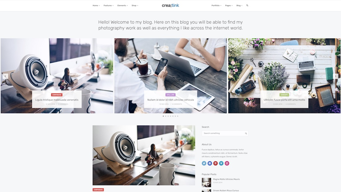 creatink website template