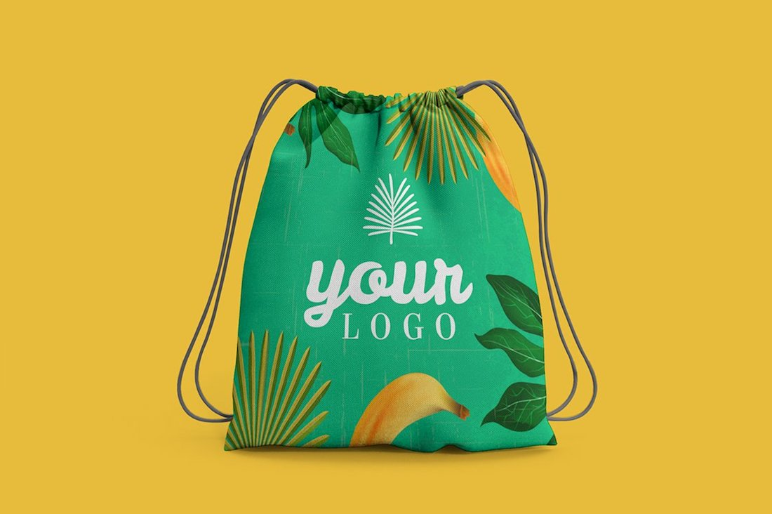 creative drawstring bag mockup