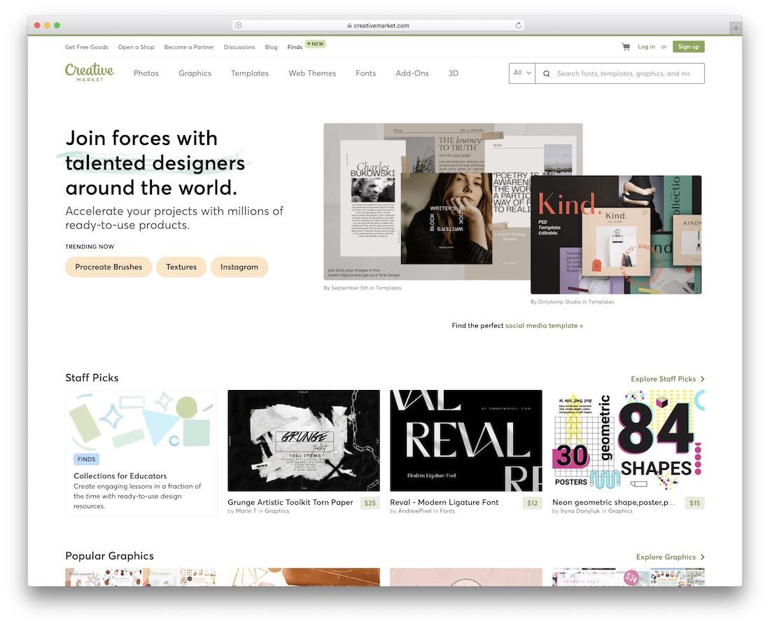 creative market platform for selling digital product