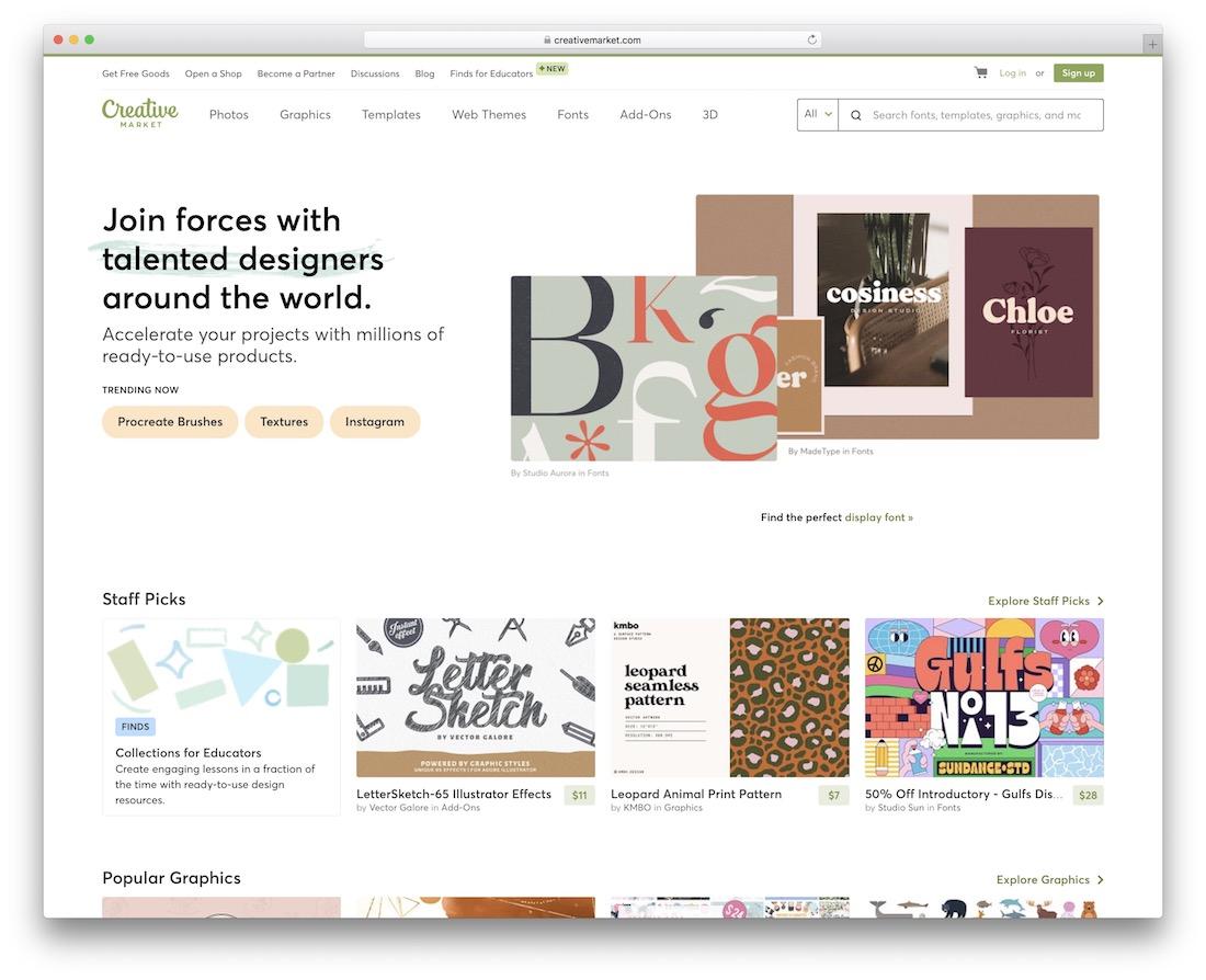 creative market showcase inspiration site for web design