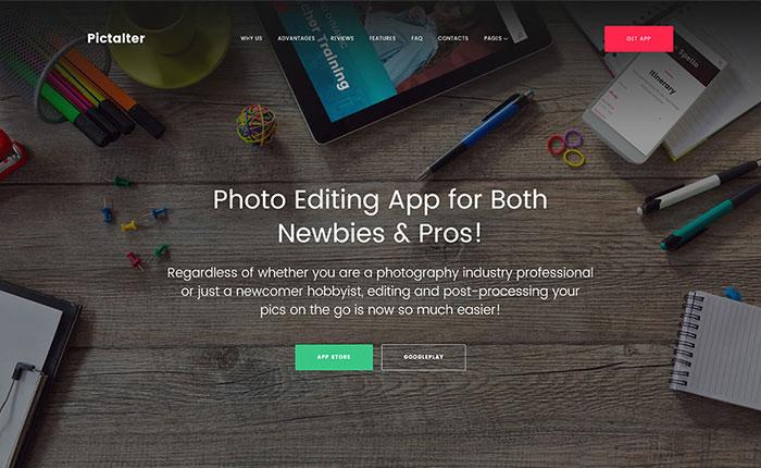 Photo Editing Application Landing Page WordPress Theme