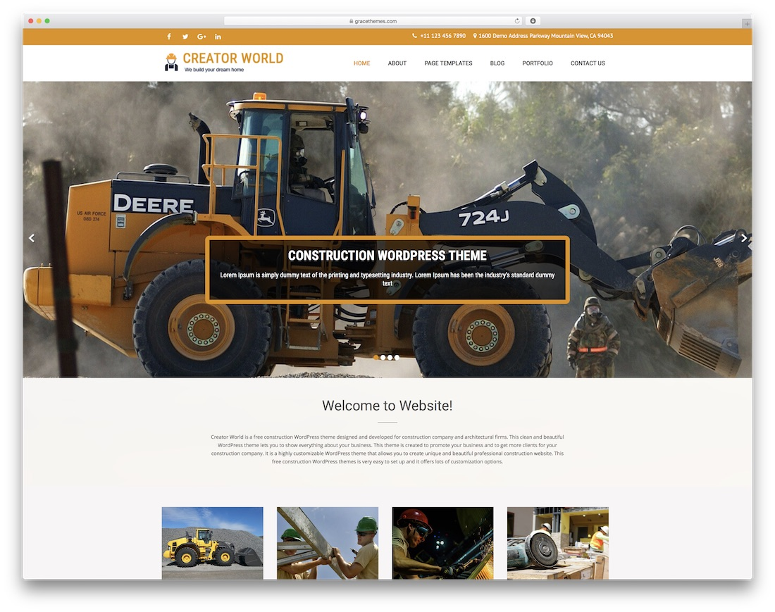 creator world free construction website template