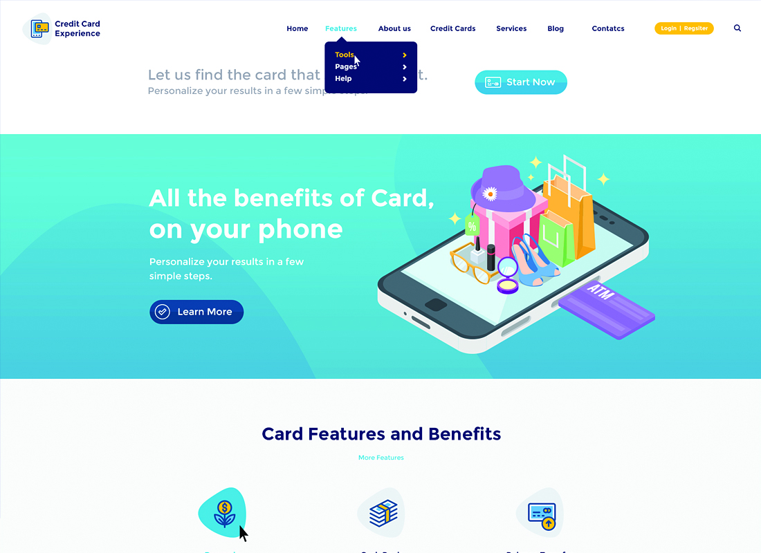 Credit Card Experience | Loans, Financial and Online Banking WordPress Theme