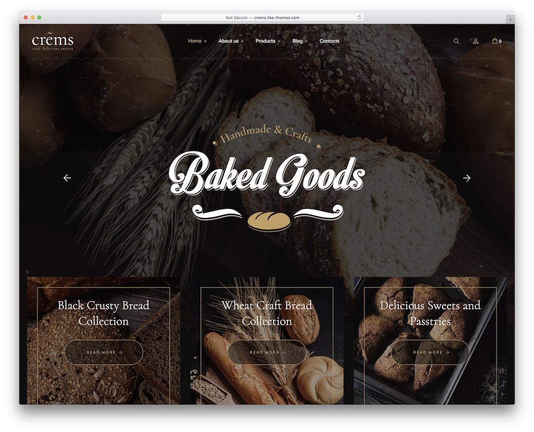 crems bakery wordpress theme