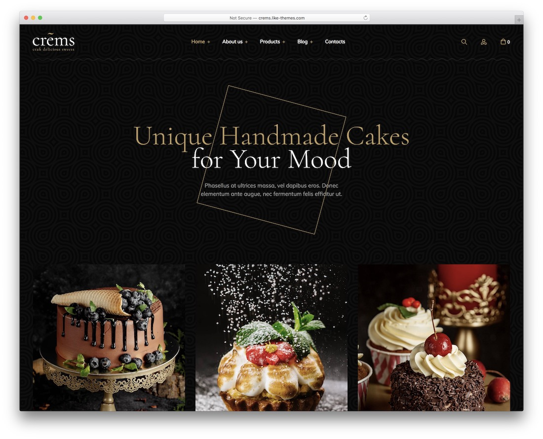 crems cake shops wordpress theme