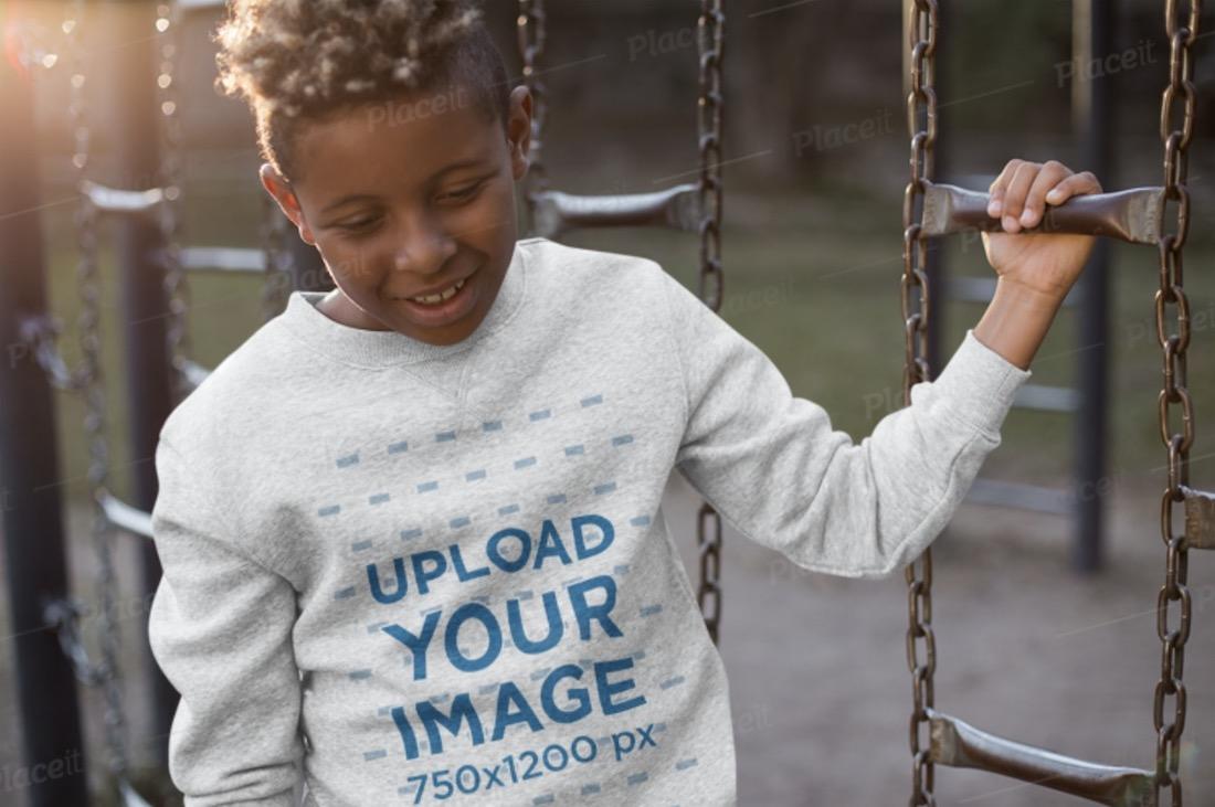 crewneck sweater mockup of a child