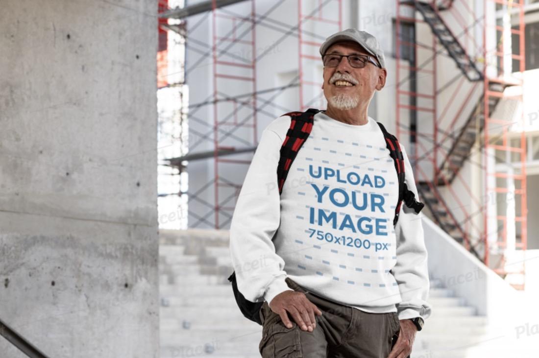 crewneck sweatshirt mockup featuring a senior man