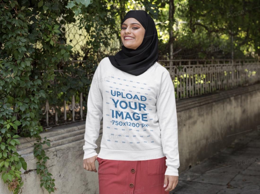 crewneck sweatshirt mockup of a woman with a hijab