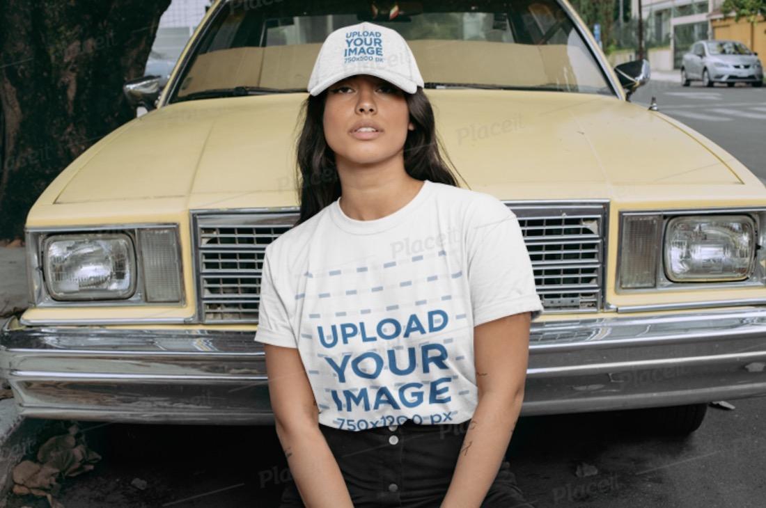 crewneck t-shirt and hat mockup of a woman