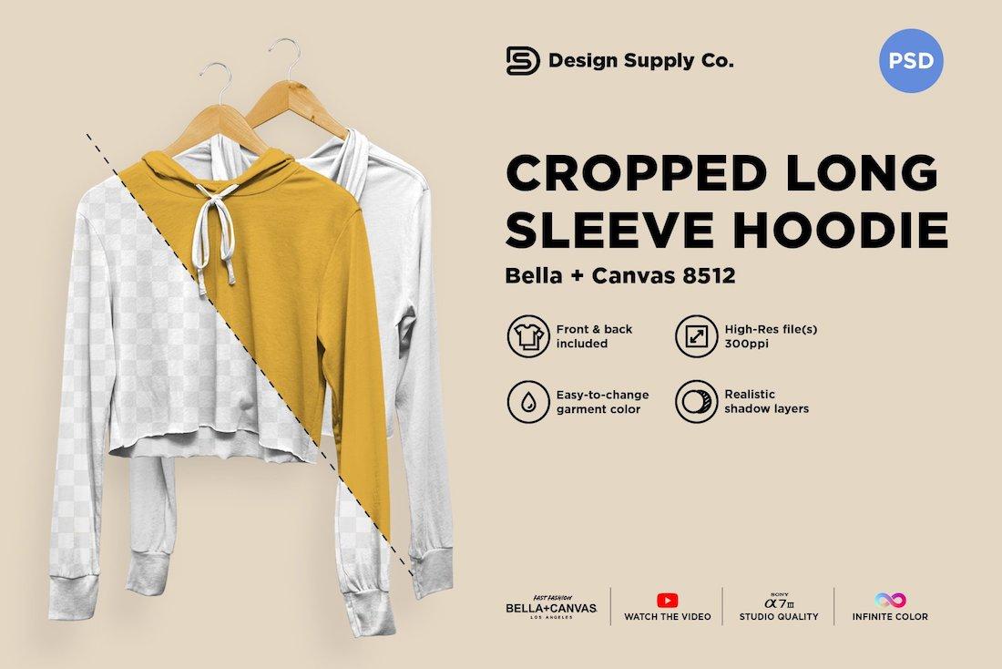 cropped tri blend hoodie mockup