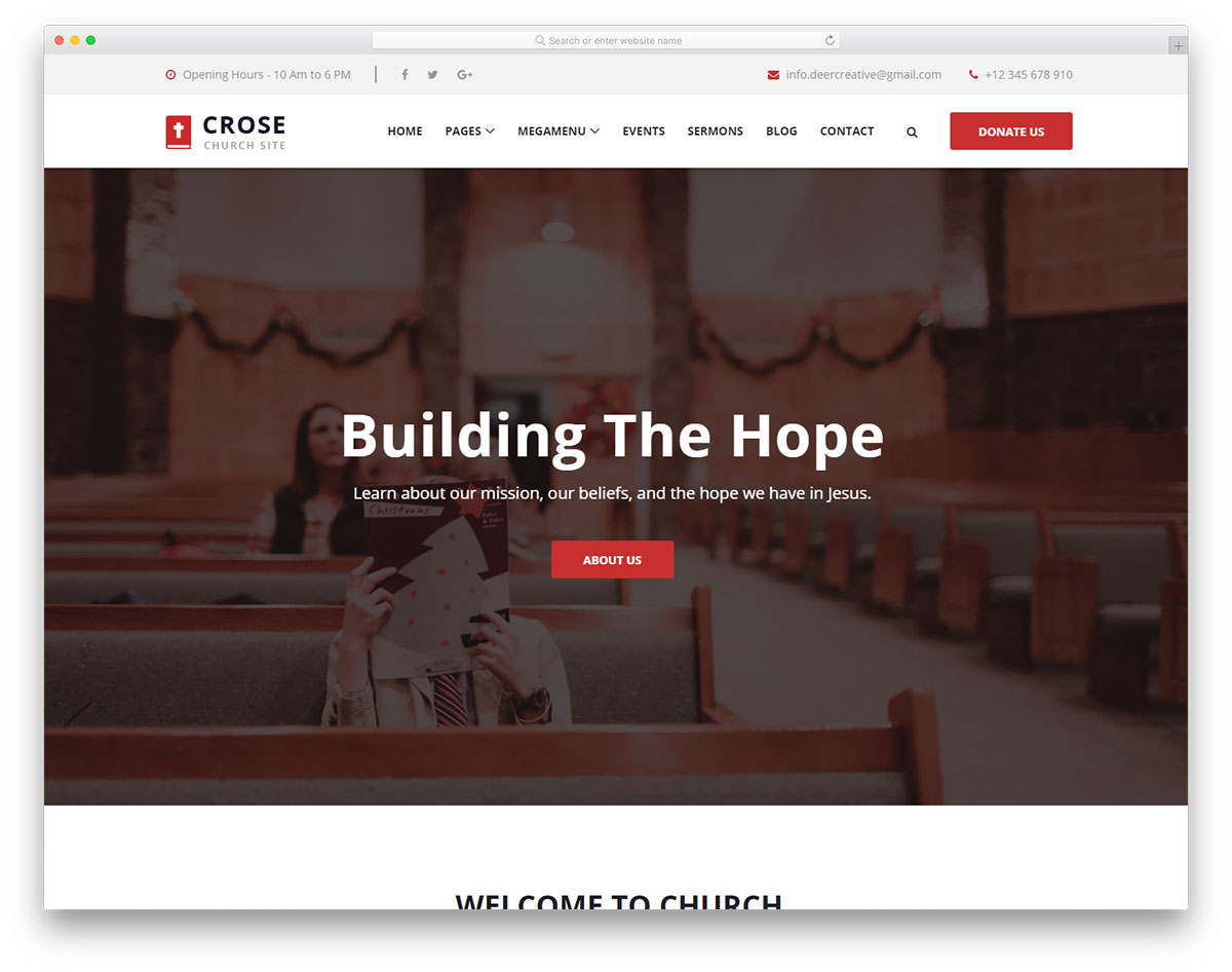 crose free template - Free Church Website Templates