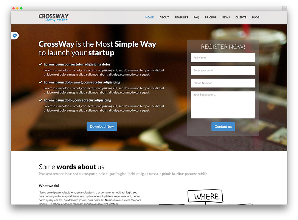 crossway startup landing page