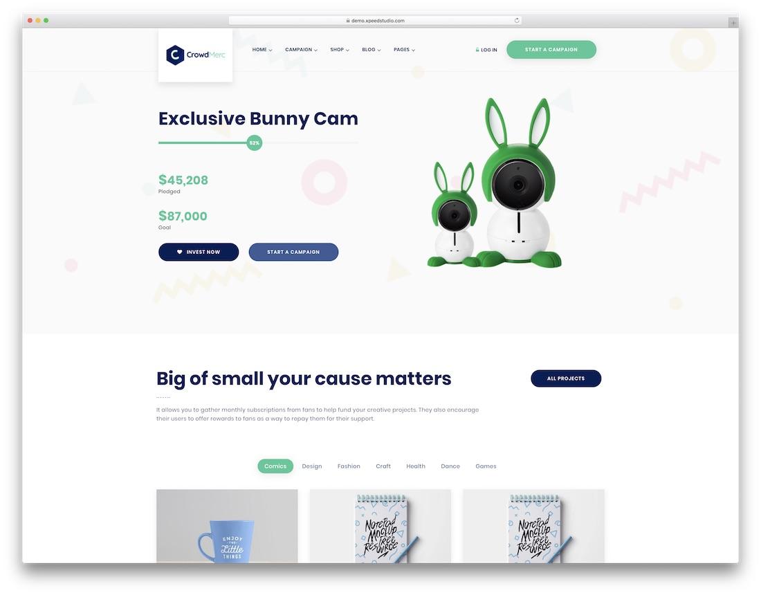 crowdmerc crowdfunding wordpress theme