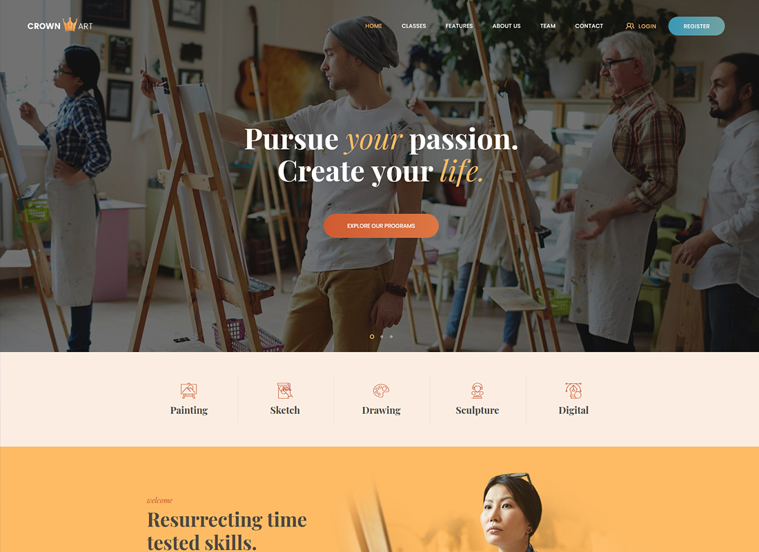 Crown Art   Arts School WordPress Theme