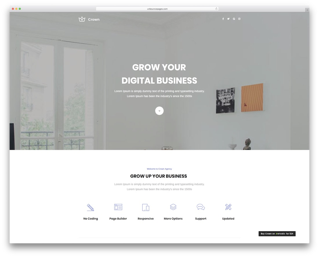 crown multipurpose unbounce landing page template