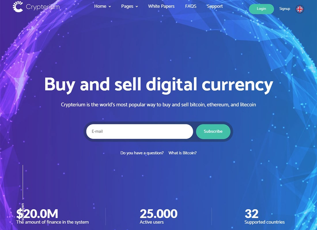 Crypterium | Cryptocurrency WordPress Theme and ICO Landing Page