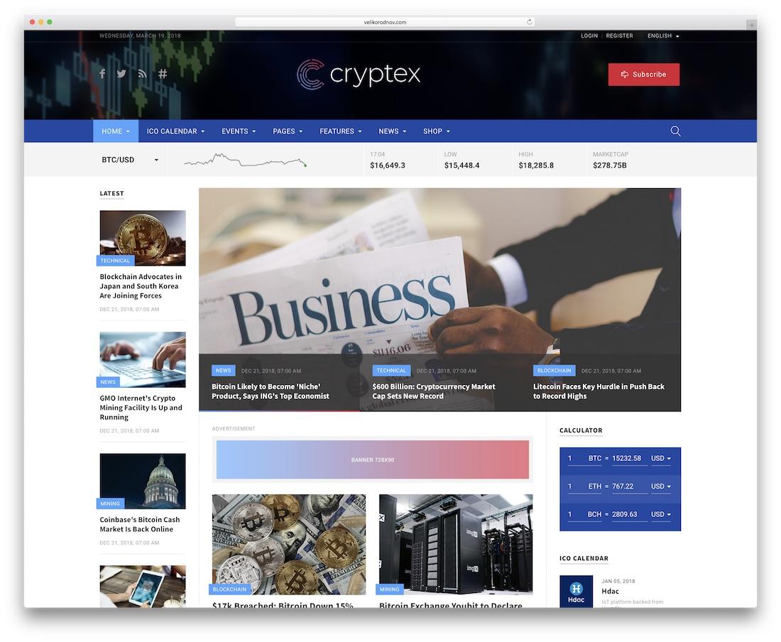 cryptex news website template